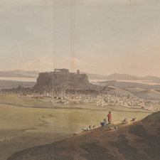 Distant view of the Acropolis in Athens and surrounding landscape