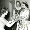 Image: 6606/2906 (The Queen Mother receives bouquet from Miss M. J. Rowell, President of the Students' Union, 1958)