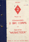 Cover of report by General Hugh Stockwell on Operation MUSKETEER, with Secret written in red text at the top