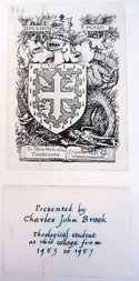 Bookplates showing ownership of Michael Tomkinson and Charles Brook