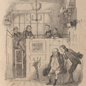 Illustration showing Mr Pickwick seated in the clerks' office