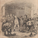 Illustration showing Mr Pickwick in the debtors' prison surrounded by some other groups of prisoners