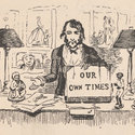 Self-portrait vignette by George Cruikshank depicting the illustrator seated at his desk and holding a sign or blotting pad bearing the words 'Our own times'