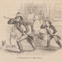 Wood engraving depicting newspaper boys marching along a cobbled street