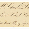 Detail from Dickens's calling card stating 'short hand writer' and his address, 10 Norfolk Street, Fitzroy Square