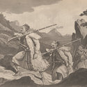 Engraving depicting three armed Albanian palikars climbing over high ground.