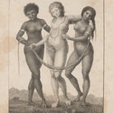 Engraving depicting three female figures with their arms wrapped around one another and holding a garland.