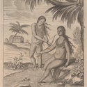 Engraved plate depicting a female using the arrow from a bow and arrow to let blood from another female seated beneath a palm tree with her feet in a stream. With a dwelling and palm tree in the background.