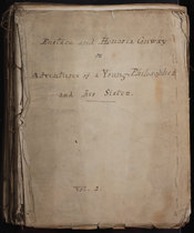 A photograph of the frontcover of the manuscript for the second volume of Eustace Conway. The full title reads 'Eustace and Honoria Conway or Adventures of a Young Philosopher and his Sister'