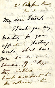 A handwritten letter from Maurice addressed to his friends at King's College London in which he thanks them for their 'affectionate' words.