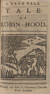 Woodcut illustration of Robin Hood shooting a bow, as shown on the title page of the work