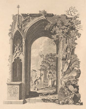 Engraved frontispiece showing an archway adorned with plants, with figures in the background