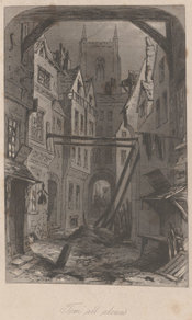 Plate depicting a gloomy London street running through a slum, with a church towering over the buildings