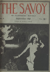 Illustrative line block title page of the Savoy magazine, by Aubrey Beardsley, showing two elegantly dressed women in the countryside