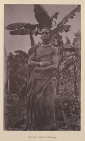 Photograph of African tribal chief, Mareale, Chief of Marangu, pictured in a forest setting