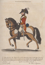 An Officer of the Second Regiment Life Guards in red uniform mounted on his horse