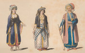 Frontispiece portraits of Christian ladies of Damascus and Aleppo and an Arab sheikh of the mountains, all in brightly coloured traditional dress