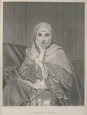 Portrait of an Egyptian lady with Islamic headdress and clothing entitled, A daughter of the East