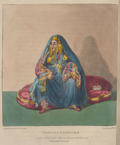 Upper-class woman  of Tripoli wearing a brightly coloured barracan