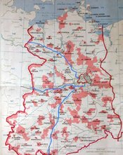 Map of East Germany with zones highlighting the positioning of troops`