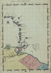 Chart of the West Indies, a drawing from Young's Essay showing the geographical location of the islands and hand-coloured, page 3