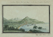 Watercolour depiction of Scarboro, Town, Fort, and Bay, viewed from western headlands, page 19
