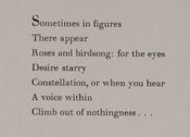 Part of a Jeremy Adler poem from Notes from the correspondence