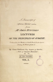 Title page of James Parkinson's Notes on John Hunter's 1785 lectures: fair copy