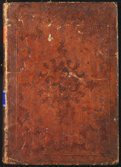 Image of the binding, showing blind tooling and floral designs