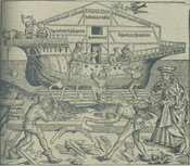 Woodcut image of Noah's Ark