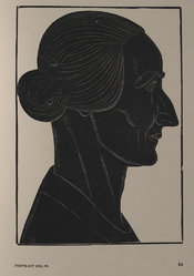 Wood engraved portrait of a woman by Eric Gill entitled: 'Mrs W