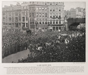 A photograph of the Lord Mayor's show, London, passing through Ludgate Circus at the end of the 19th century, with huge crowds present and explanatory text