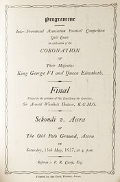 Cover of a programme of a football match held in Accra in 1937, to mark the coronation of George VI