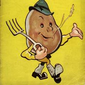 Cartoon image of potato as a farmer with a pitchfork, hat, shoes with spats, chewing on a wheat straw