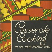 Strongly graphic recipe book cover for casserole recipes with an inserted photo of a oven regulator