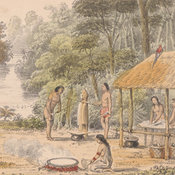 Colour illustration showing the Carib inhabitants crushing sugar cane and making Cassava bread
