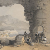 Lithographed view of the city with a group of male figures chatting in the foreground