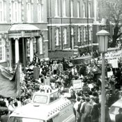 NUS march against education cuts outside Chelsea College (1981)