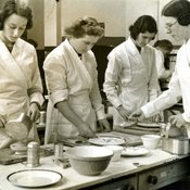 Cookery instruction at Chelsea Polytechnic, c1930 (Ref: C/PH4/11)
