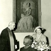 Queen Elizabeth The Queen Mother at the unveiling of her portrait, 1955 (Ref: Q/PH2/11)