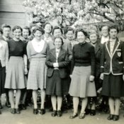 Students on the Sister Tutor's course outside the Quadrangle huts, c1948 (Ref: Q/PH1/44)