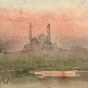 Durbar watercolour by Beryl White in Delhi