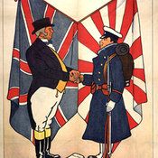 John Bull shaking hands with a Japanese soldier