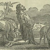 The prodigal son kneeling in his moment of repentance as a swine herder, from The Maori messenger [FCO Collections]