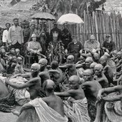 Photograph of the ceremony which formally incorporated the Ewi of Ado's kingdom in the British Lagos Protectorate, from: The Queen's Empire: a pictorial and descriptive record: illustrated from photographs. London: Cassell and Company, 1897-99 [FCO Historical Collection DA11 QUE