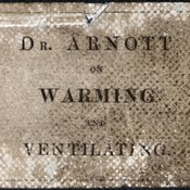 Label from the cover of Neil Arnott's On warming and ventilating : with directions for making and using the thermometer-stove, or self-regulating fire, and other new apparatus. London : Longman, Orme, Brown, Green, and Longmans, 1838 [Early Science CollectionTH7010 ARN]