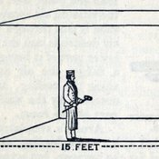 Diagram showing cubic feet of air, which according to the Sanitary Act of 1866 could accommodate 5 people sleeping in a cheap lodging-house and a smaller cube representing 14 cubic feet, the amount an adult breathes in and out in a single hour. Taken from: Charles Alexander Cameron. Lectures on the preservation of health. London : Cassell, Petter, and Galpin, 1868 [KCSMD Historical Coll.ection RA591 CAM]