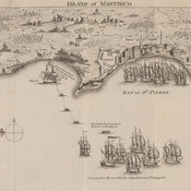 View of the attack on Martinique, shows the disposition of the troops and batteries of guns