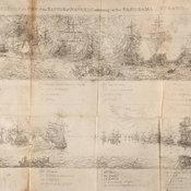 Scene from battle showing position of various ships