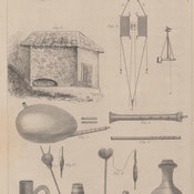 Olive press showing a man at work, corn mill and various other utensils